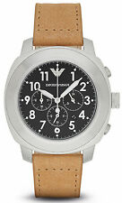 Emporio Armani AR6060 Black Dial Leather Strap Chronograph Men's Watch