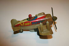 Vintage Stunt master #1 Airplane Tin Litho Wind Up Toy Plane WORKS!