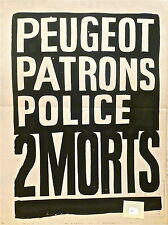 Affiche originale Mai 68 manifestation étudiant barricade politique Paris p 175