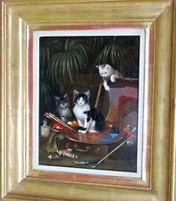 Scheuerer Julius *1859 München Die Katzen des Künstlers im Atelier des Malers