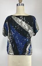 Vintage 70's 80s 100% Silk Blue Silver Black Sequin Beaded Glam Bling Crop Top S