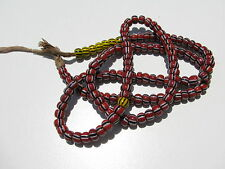 VINTAGE 147 RED BRICK YELLOW BLACK WHITE STRIPED GLASS 6 MM.AFRICAN TRADE BEADS