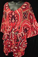 INC INTERNATIONAL CONCEPTS Women's Sz XL Red Nylon Tunic BoHo Blouse Dolman Top