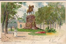 Künstler-AK ** Heinrich Kley: KARLSRUHE - Kaiserdenkmal  **  post. gelaufen 1897
