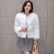 New Women's Winter Real Ostrich Fur Outwear Overcoat Short Jacket Fashion coat