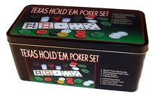 TEXAS HOLD EM POKER SET CASINO CARD GAME POKER CHIPS MAT & PLAYING CARDS TY341