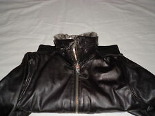 Schott Black leather fur collar bomber jacket