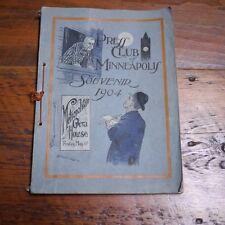 Antique Vintage 1904 Authentic Press Club Of Minneapolis Souvenir Book Pamphlet