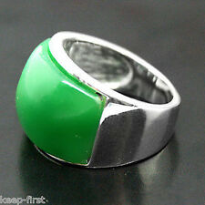 Beautiful 925 Sterling Silver Natural Green Jade Men's Ring Size 10