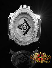 MEN'S ICED OUT YELLOW SILVER FINISH BLING MASTER LAB DIAMOND SIMULATE  WATCH