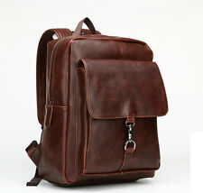 Mens Vintage Leather Backpack Rucksack Bag Casual Travel School Laptop Backpack