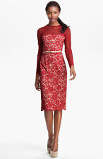 Maggy London Embroidered Lace Overlay Red Midi Dress New