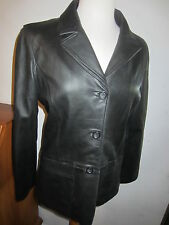 GAP SOFT LEATHER BLACK 3 BUTTON BLAZER JACKET WOMENS M LINED 2 POCKETS