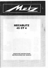 Metz Mecablitz 45 CT 4, 45 CT4 Flash Instruction Manual, E, S