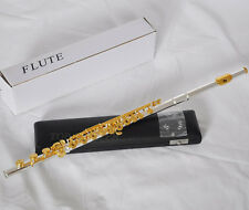 Top Quality Silver Gold Plated Flute 17 Open Holes B Foot Italian Pads With Case