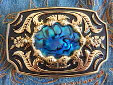 NEW HANDCRAFTED IN UK BLUE ABALONE  BELT BUCKLE GOLD/BLACK METAL WESTERN GOTH