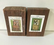(2) Doll House Furniture Wood Kits Colonial Hutch & Secretary Vintage NOS USA