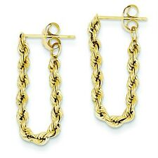 14K Yellow Gold Hollow Rope Style Chain Dangler Butterfly Back Post Earrings