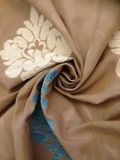 19m Natural Raised Chenille Brocatelle Italian  Medallion Design Curtain Fabric