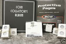 BCW Coin Collecting PREMIUM Starter Kit 1 Album 10 Pages 100 Coin Holder Flips