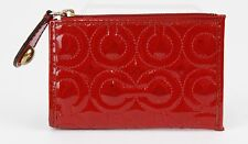 Coach Red Patent Leather Logo Quilted Zip Top Coin Purse B325