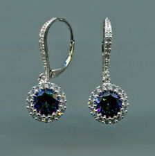 925 SILVER 1.25 CARAT 7MM MYSTIC TOPAZ & CZ SOLITAIRE HALO LEVERBACK EARRINGS