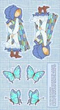 SPX Holly Hobbie Blue Girl 25355 Doll & Butterfly Panel  Cotton Fabric