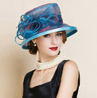 New Women's Kentucky Derby Church Wedding Noble Dress hat organza feather hat