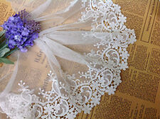 """White Floral Lace Trim Cotton Embroidered Soft Tulle Lace Trim 5.9"""" Wide 2 Yards"""