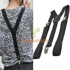 Mens Womens Unisex Elastic Braces Y-Back Slim Clip-on Belt Adjustable Suspenders