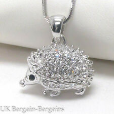 Cute White Gold Plated Crystal Porcupine Hedgehog Charm Pendant Necklace UK