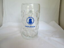 "Huge 8"" Paulaner Munchen Germany 1-Liter Dimpled Glass Beer Mug Blue Logo"