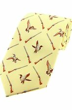 Cream Yellow Ducks and Shotguns  Shooting Tie Ideal game shooters Gift SILK new