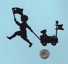 "Patriotic Boy with Flags and Dog in Wagon Silhouette Die Cuts - 2 ea, 4"" tall"