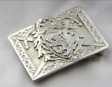 KILT BELT BUCKLE SOLID PEWTER HERALDIC RAMPANT LION MADE IN SCOTLAND FOR KILTS