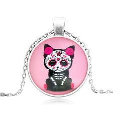 Small Kitten Cat Cabochon Glass Tibet Silver Pendant men and women Necklace#BB42