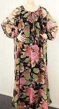 Vintage 70s Maxi Dress Pink Black Floral Sz 12 14 B40 W40 H44 Retro Clothing