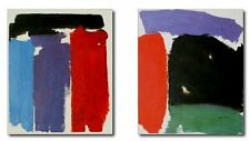 Set of 2 Quality Hand Painted Oil Paintings Abstract Paint Colors 20x24in