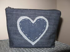 Make Up Bag Handmade Cosmetic Bag Diamante Make Up Bag Denim Blue FREEPOST