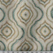 Drapery Upholstery Fabric Woven Jacquard Damask Ogee - Turquoise