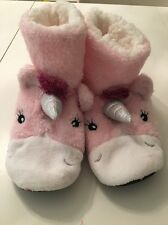 Ladies Pink & White Unicorn Primark Slippers Boots Size 6 7 8 Stocking Filler