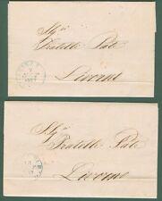 ISOLA D'ELBA * 2  lettere da Marina di Rio per Livorno del 7 e 13 Settembre 1859