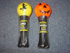 2 Vintage Halloween Blinky Lite Witch & Jack-o-Lantern trick or treat light nos
