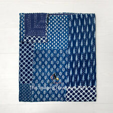 Indigo Patchwork Quilt Kantha Quilts Kantha Bedspread Twin Kantha Blanket Throw
