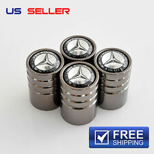 MERCEDES-BENZ VALVE STEM CAPS WHEEL TIRE BLACK CHROME - US SELLER VE01