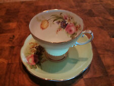 :  Foley Vintage Demitasse Harlequin Cup & Saucer #3125 in Mint Green