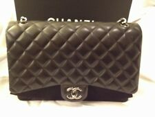 CHANEL Black Quilted Lambskin Large Classic Flap Bag Handbag Brand New in Box