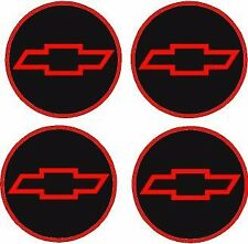 """NEW CHEVY STYLE 2.55 """" RED&BLACK & RED DOMED BOW TIE Center Cap STICKER DECALS"""