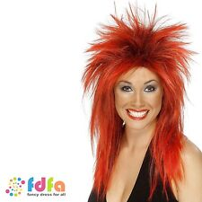 80s RED & BLACK  ROCK PUNK DIVA TINA TURNER MULLET WIG ladies womens fancy dress