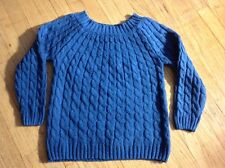 Womans Cable Knit Pullover Sweater in Country Blue, M